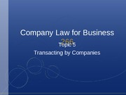 Topic 5 - Transacting By Companies
