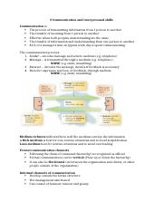 Communication and interpersonal skills notes