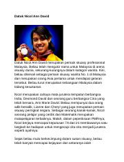 Datuk Nicol Ann David Docx Datuk Nicol Ann David Datuk Nicol Ann David Merupakan Pemain Skuasy Professional Malaysia Beliau Telah Mengukir Nama Untuk Course Hero