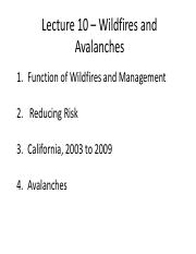 ES 2GG3 - Lecture 10 - Wildfires and Avalanches - A2L