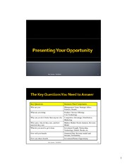 Presenting Your Opportunity