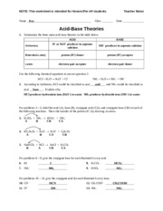 Worksheet - Acid-Base Theories (Pre-AP) - Teacher - H 2 SO 4 NH 3 ...