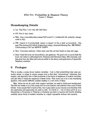 Week 1 Lecture Notes on Probability Spaces, Set, Events, and sigma fields