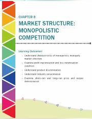 Chapter 8 Market Structure Monopolistic Competition