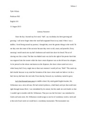 Literary Narrative Paper Tyler
