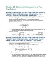Business Statistics Reading Notes Chapters 10