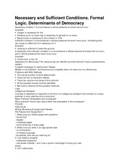 Necessary and Sufficient Conditions. Formal Logic. Determinants of Democracy