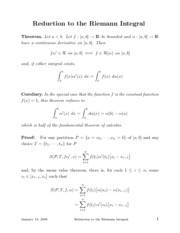 Math 321 - Reduction to the Riemann Integral