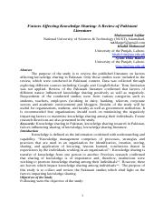 Factors Affecting Knowledge Sharing: A Review of Pakistani Literature