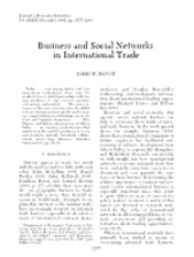 Business and social networks in International Trade