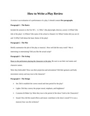 How to Write a Play Review