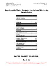 ECEL 303 - Lab 2 - PSpice Computer Simulation of Electronic Circuits Rubric (1).pdf