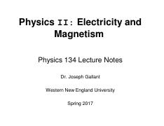 P134 Chap31 notes pdf - Physics II Electricity and Magnetism Physics
