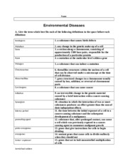 Enviromental Diseases Activity with Answers
