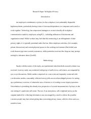 Research Paper- Workplace Privacy