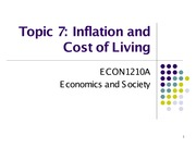 Topic 7 Inflation and Cost of Living