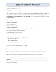 Company Research Worksheet