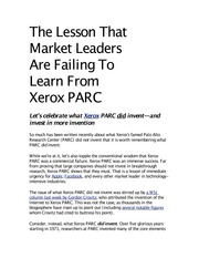What Xerox did wrong article