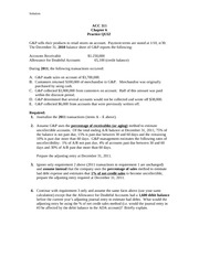 ACC311 Chapter 6 Practice Quiz with Solution