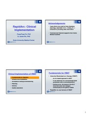 RapidArc Clinical Implementations