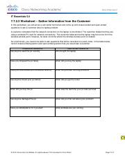 7.7.2.3 Worksheet - Gather Information from the Customer