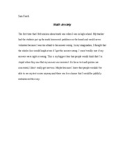 Math Anxiety Reflection Paper