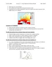 Lecture 22 – Ozone Depletion & Human Health