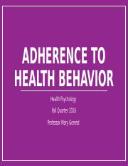 Adherence to Health Behavior