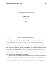 Theories and Models of Public Policy.docx