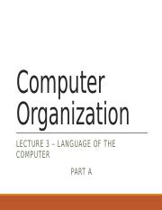 Lecture 3 - Language of the computer