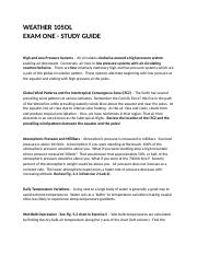 WEATHER 105OL  Exam 1 Study Guide.docx