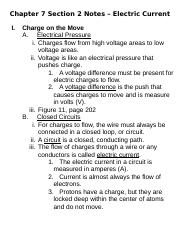 Chapter 7 Section 2--Electric Current