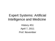 2011-04-07 -- Expert Systems in Medicine