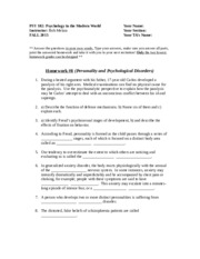 Homework _8 Personality and Psyc Disorders(1) 2015