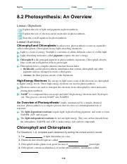 photosynthesis worksheet.pdf - Name Class Date 8.2 ...