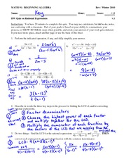 Quiz 5 Solution on Simplifying, multiplying, dividing, converting rational expressions