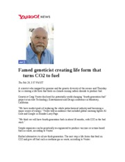 Famed geneticist creating life form that turns CO2 to fuel