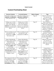custom proofreading sheet student example