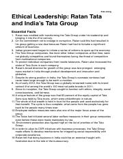 Ethical Leadership: Ratan Tata and India's Tata Group