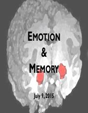 Lecture 6 - Emotion and Memory