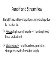 4. Runoff and Stream flow