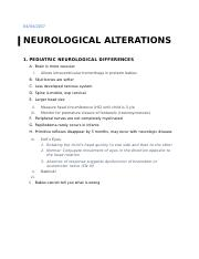 Neurlogical Alteration Notes